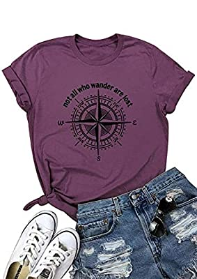 Not All Who Wander are Lost Women Hiking T Shirt Compass Graphic Camping Tee Short Sleeve Cotton Casual Tops (XL, Purple)