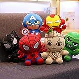 CushionsHome Peluche Giocattoli Guardiani della Galassia Doll Baby Groot Pantera Nera Hulk Ironman Spiderman Bambini Regalo 20cm 6 PCS