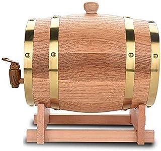 5L vin de stockage baril bière Fûts, Chêne en Bois Durable Vintage Tonneau de Vin et Distributeur avec Support Récipient, ...
