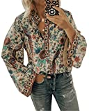 Onsoyours Señoras Manga Larga Cuello En V Camisetas Boho Estampado Floral Túnica Casual Camisa Suelta Blusa Clásica Tallas Grandes Tops 01 Albaricoque 50
