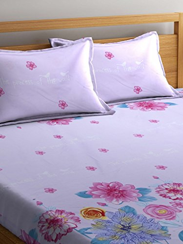 Portico New York Satin Printed Double Bedsheet with Pillow Covers (Multicolour, Queen Size)