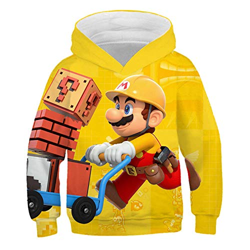hhalibaba Gioco Classico Cartone Animato Super Mario Bros Abbigliamento Felpa con Cappuccio per Bambini Neonati Hiphop Streetwear Giacche Carine Ragazza Felpe Cappotti