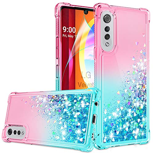LG Velvet Hülle, LG Velvet 5G Handyhülle mit HD Displayschutzfolie für Mädchen Frauen, Gritup Cute Clear Gradient Glitter Liquid TPU Slim Phone Case für LG Velvet Pink/Teal