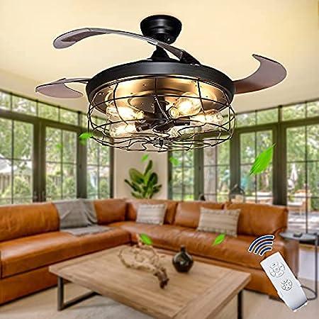 Depuley Plafonnier avec Ventilateur,Ventilateur de Plafond Industriel avec 4 Pales Rétractables,Télécommande,Utilisé dans la Cuisine, le Salon, Ampoule Edison (Non Incluse), Noir