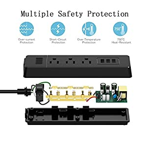 Power Strip Electric Surge Protector Smart 3-USB Charging Ports and 3-Outlet Desk Power Plug with 5.5 Feet Extension Cord for Home,Hotel,Office,TV,Computer,Power Bank,Smartphone,Tablets-Black
