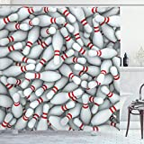 ABAKUHAUS Fiesta de los Bolos Cortina de Baño, Vivid Pila prendedores, Material Resistente al Agua Durable Estampa Digital, 175 x 200 cm, Rojo y Blanco