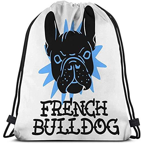 BOUIA Turnhalle Reisen Yoga lässig Drawstring Bag französische Bulldogge drucken typografische Medien französische Bulldogge drucken