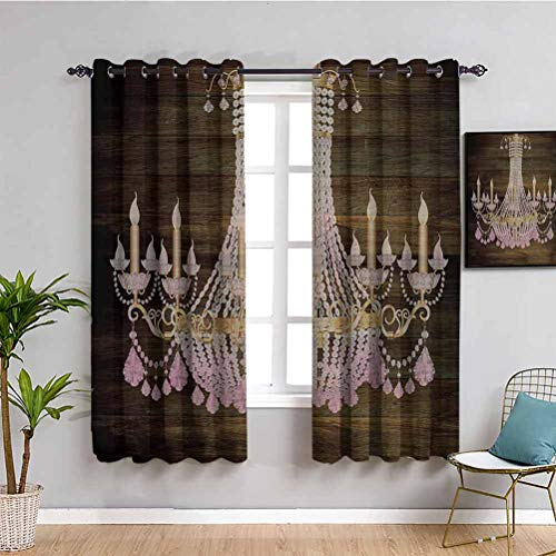 Rustic Wooden Heat Insulation Curtain Planks Crystal Chandelier Fashionable Textile Modern Special Collection Decorative Item Elegant Decor Indoor Curtain W72 x L84 Inch Brown Pink
