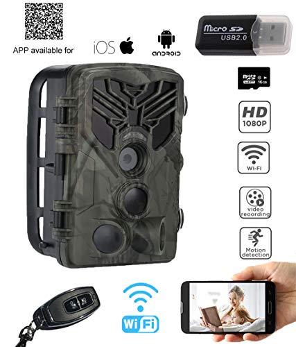 YTLJJ Jagdkamera WiFi, APP Wildkamera Fotofalle 20MP 1080P mit Bewegungsmelder Nachtsicht, Infrarote Nachtsicht 65ft/20m, IP65 Wasserdicht Überwachungskamera, 2,0-Zoll-Bildschirm