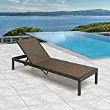 Crestlive Products Aluminum Adjustable Chaise Lounge Chair with Wheels, Five-Position and Lay Flat Outdoor Recliner, All Weather for Patio, Beach, Yard, Pool (1PC Brown)