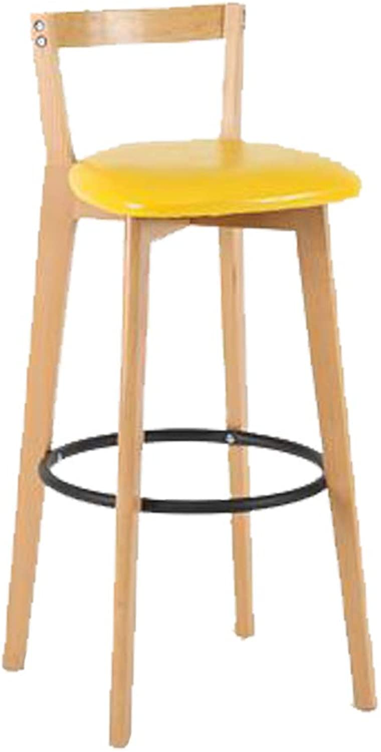 Barstools Ancient American Chair bar Stool Solid Wood seat Wooden Frame and Footstool Breakfast bar Stool Kitchen Dining Chair Nordic Solid Wood Simple bar Stool