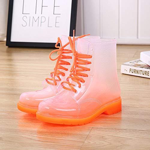 HIUGHJ Botas de Lluvia para Mujer, Zapatos de Lluvia de cañón bajo,...