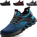 SUADEEX Zapatos de Seguridad Hombre, Zapatos de Trabajo Hombres Ligeros, Puntera de Acero Zapatos de Seguridad, Anti-presión y Anti-pinchazos, Azul-47EU