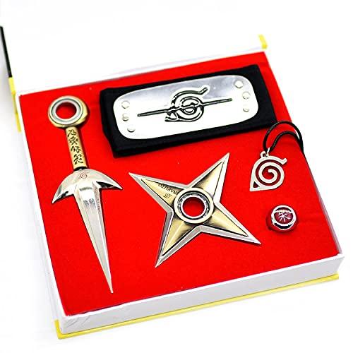 Anime Naruto - Diadema de cuatro generaciones de Naruto Flying-Thor para cosplay, accesorio anti konoha, anillo colgante para Naruto, unisex, bronce