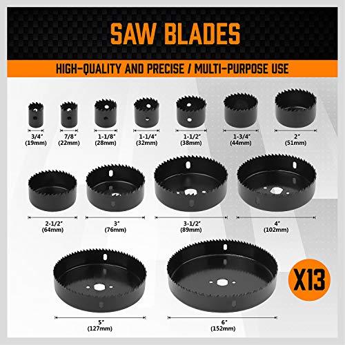 HORUSDY Hole Saw Set, 17 Pcs Hole Saw Kit with 13Pcs Saw Blades 6