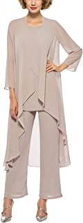 3 Piece Mother of The Bride Outfit Pants Suits Chiffon Long Sleeve Dressy Pantsuits