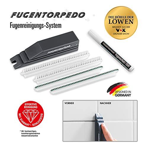 Fugentorpedo 00896 XL-Set | 1x Griff, Fugenbürste, 2X Schleifsteg 3mm & 1 x Fugenschutzstift | Effektive Fugenreinigung und-versiegelung | Für Zementfugen in Küche und Bad, Schwarz, One Size