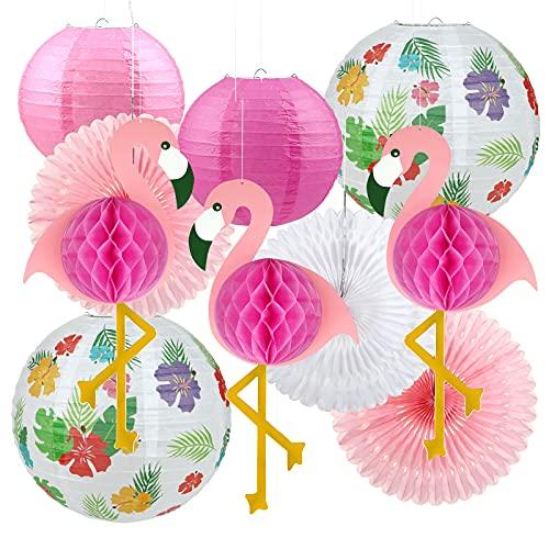 LEMESO 10 pz Lanterne di Carta da Esterno, Kit Decorazioni per Feste, da Giardino Estate Fenicottero Ventilatori Pompons Lanterne Grandi da Appendere Stili Hawaii Rosa e Verde Party Nozze
