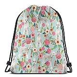 vintage cap Bedlington Terrier Florals Dog Design - Light Blue_666 3D Print Drawstring Backpack Rucksack Shoulder Bags Gym Bag for Adult 16.9'x14'