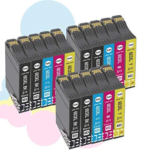 Ouguan® Cartuchos de tinta compatibles para 603 XL 603 para EpsonXP-2100 XP-2105 XP-3100 XP-3105 XP-4100 XP-4105,WF-2810 WF-2830 WF-2835 WF-2850-6Negro/3 Cian/3 Magenta/3Amarillo