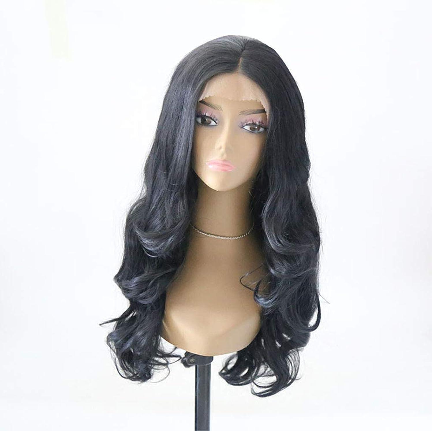 ポルティコアクティブじゃがいも女性フロントレースかつら長い波状巻き毛のかつらファッション合成耐熱繊維かつら