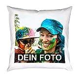 Personalisiertes Kissen mit individuellem Bild und Text selbst gestalten (40 x 40 cm, eckig,...