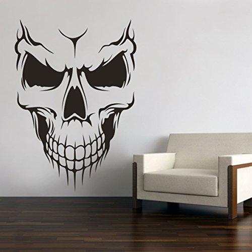 Skull Totenkopf Schädel Wandtattoo Wandaufkleber Wandsticker Wohnzimmer Auto Aufkleber Sticker (80 x 56 cm, Schwarz)