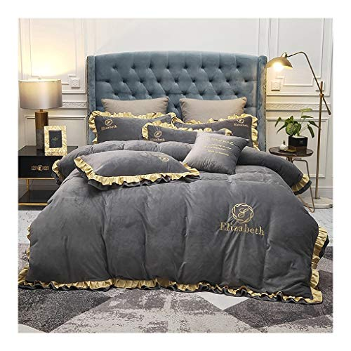 NYKK Bed 4-Piece Ultra-Soft Microfibre Sheet System Warm Elegant Design of the Skirt Keep in Winter Bed Sheets and Duvet Cover Fitted Sheets