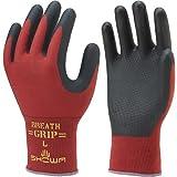 SHOWA ショーワグローブ/背抜き手袋/ブレスグリップ type-R 10双 カラー:レッド サイズ:L(裾グレー) 品番:380R