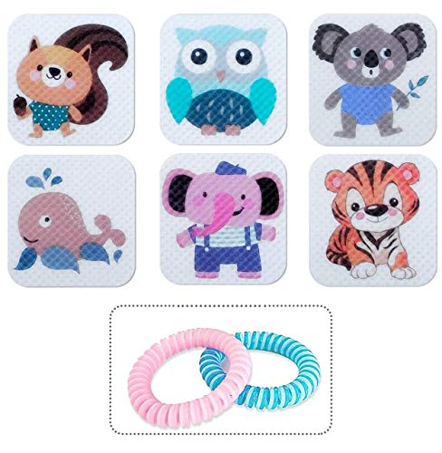 BuggyBands Mosquito Patch Stickers for Kids (120 Pcs), Resealable Stickers with 2 Bracelet, DEET Free, Waterproof Safe Travel Sticker
