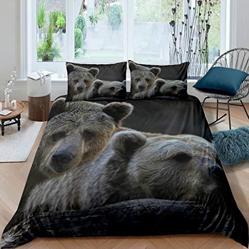 Loussiesd Animal Theme Bedding Set for Kids Teens, Two Brown Bear Pattern Decor Comforter Cover (No Comforter) Soft Polyester Duvet Cover Set (1 Duvet Cover + 2 Pillow Cases) King Size