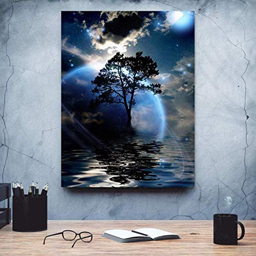 XMYC Poster Image Moon Tree Lake Night view Landscape Canvas Painting Poster Print Pictures Living Room Decor15.7x23.6in(40x60cm) no frame