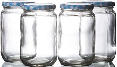 STAR WORK 400 ml Mason Glass Jars with Blue Chex Lids, Regular Mouth, Dishwasher Safe Pack of 6