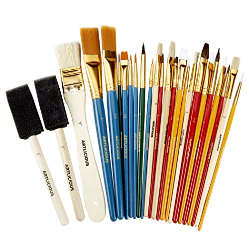 commercial acrylic paint brushes brand Artlicious – A versatile set of 25 brushes – Great for acrylics, oils, watercolors and gouache