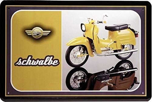 Tin Sign Blechschild 20x30 cm Simson Schwalbe Oldtimer DDR Moped Roller Motorroller Werkstatt Werbung Reklame Plakat Metall Schild