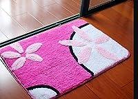 バスマット かわいいあしあとベッドルームの装飾床のカーペットバスルームのバスマットは、carpette・デ・サル・ド・ベイン耐性台所のドアラグキットを着用してください (Color : Rose Red Gardenia, Specification : About 50x80cm)