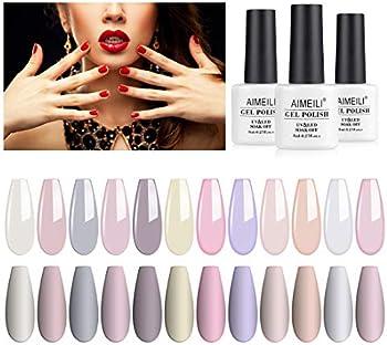 AIMEILI Clear Color Pink Nude White Soak Off Gel Nail Polish Set