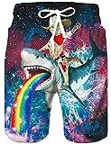 Rave on Friday Mens Beach Shorts 3D Gedruckt Lustige Shark Boardshorts Hawaii Funky Summer Swim...