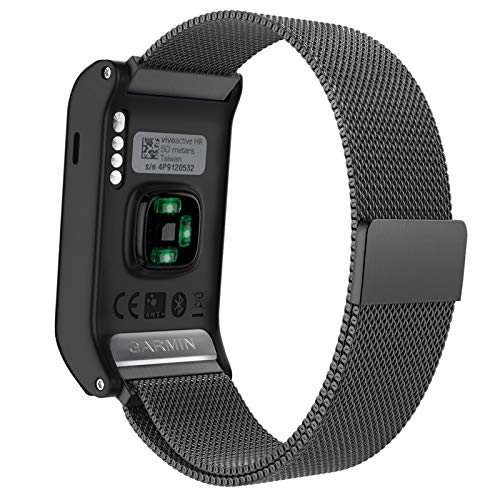 Kaudia Ersatzarmband für Uhrenarmband, vivoaktiv, HR, Edelstahl von Milan, mit einzigartigem Magnetverschluss, ohne Schnalle (schwarz)