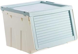 特大服収納ボックスプラスチック収納ボックス斜めフリップ服収納ボックスカバー付き収納ボックス特大水色