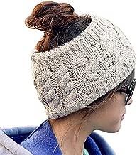JOVANA Winter Warm Twist knitting wool hat headgear Women's Ladies Korea Knit Crochet flora Twist Style Headband Head Wrap (Beige)