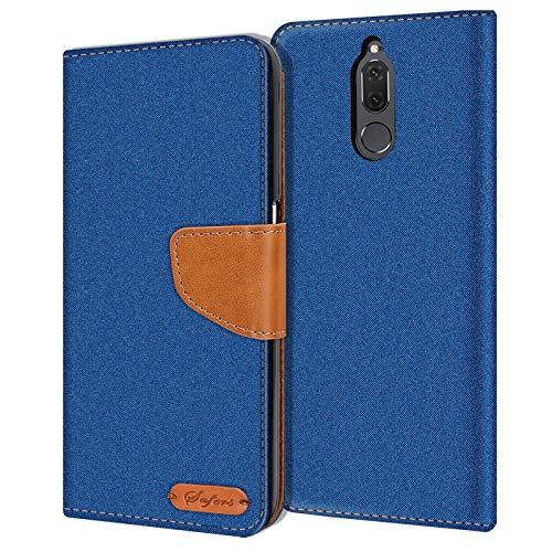 Verco Mate 10 Lite Hülle, Schutzhülle für Huawei Mate 10 Lite Tasche Denim Textil Book Hülle Flip Hülle - Klapphülle Blau