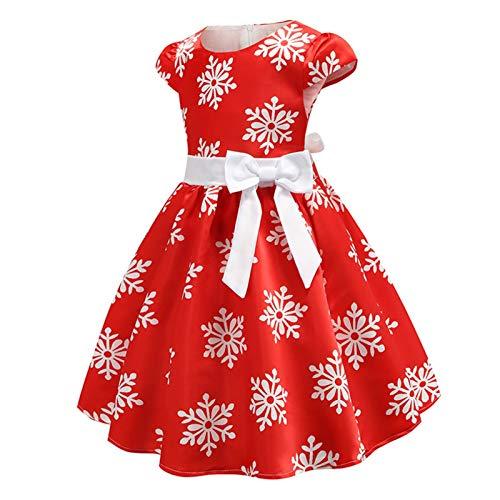 WanXingY Niñas de Manga Corta Vestido Bowknot 3-9 años Resorte y el Verano del bebé de la Muchacha del Copo de Nieve de Navidad Imprimir Princesa Dress (Color : Red, Size : 3T)