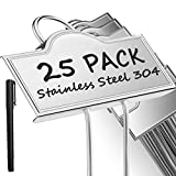 Metal Plant Labels for Garden Outdoor | Plant Markers Waterproof Tags for Vegetables Herb Seedlings Flowers with a Pen | 25 Pack | Label Area 3.74'' x 1.39'' Height 10.75 Inch | Silver