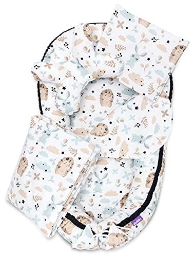 JUKKI® Babynest Comfort Baumwolle   Baby Nestches 5 teiliges Set, Kissen, Decke, Matratze   Babynestchen Neugeborene   Kuschelnest für Babybett   Babycare Bettchen - Friends Forever