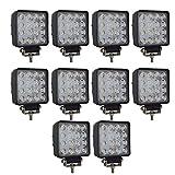 AUXTINGS 10 X 48W LED Luz de trabajo Cuadrado campo a través del reflector Proyector reflector de faro 2800LM IP67 Negro fundido de aluminio