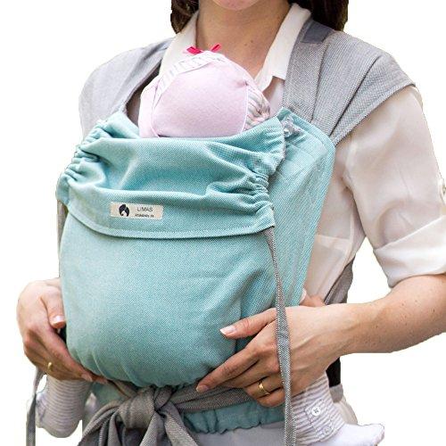 LIMAS Babytrage BIO-Baumwolle, wendbare Bauch-, Rücken- und Hüfttrage - Türkis/Grau