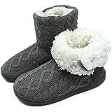ONCAI Women's Slippers Comfort Knit Boots Winter Warm Outdoor Indoor Shoes Grey