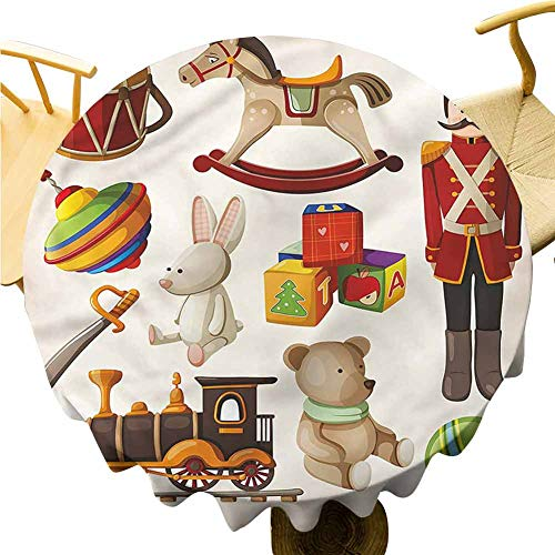 Table Cover Cloth Wooden Toy Rocking Horse Drum. Round Table Cover for Interior and Exterior Decoration Diameter 60'