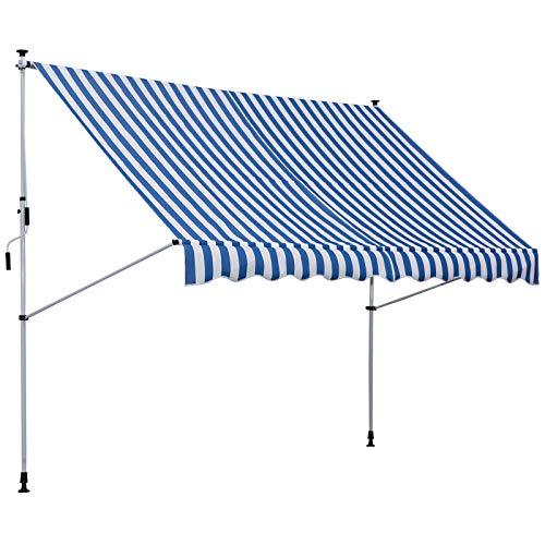 Outsunny Markise mit Faltarm, Klemmmarkise, Gelenkarmmarkise, Sonnenmarkise mit Handkurbel, Sonnenschutz, Alu 3x1,5m Blau